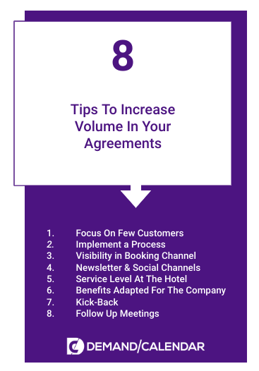 8 Tips to increase volume in agreements, hotels
